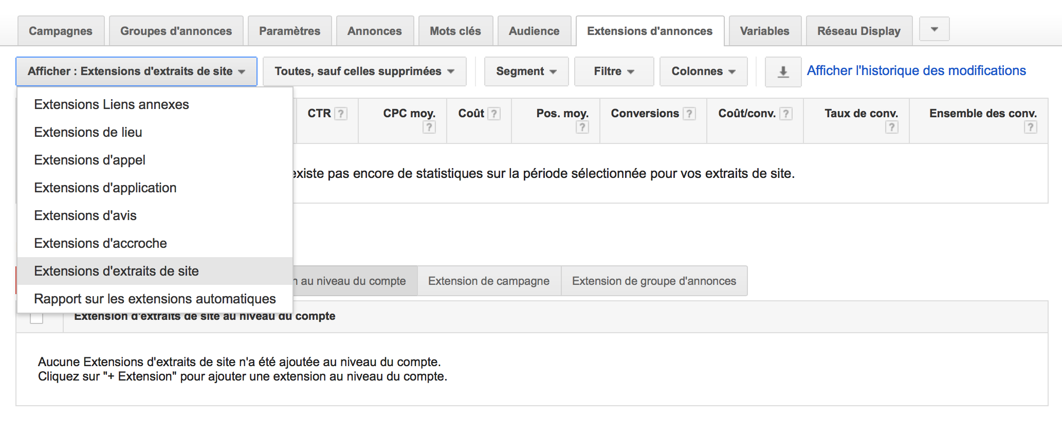 Extension extraits de site