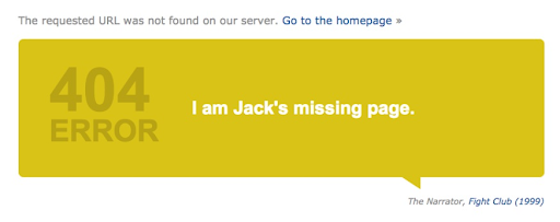 "Example of a successful 404 page from IMDB.com, referring to Fight Club's universe ""I am Jack's missing page"""